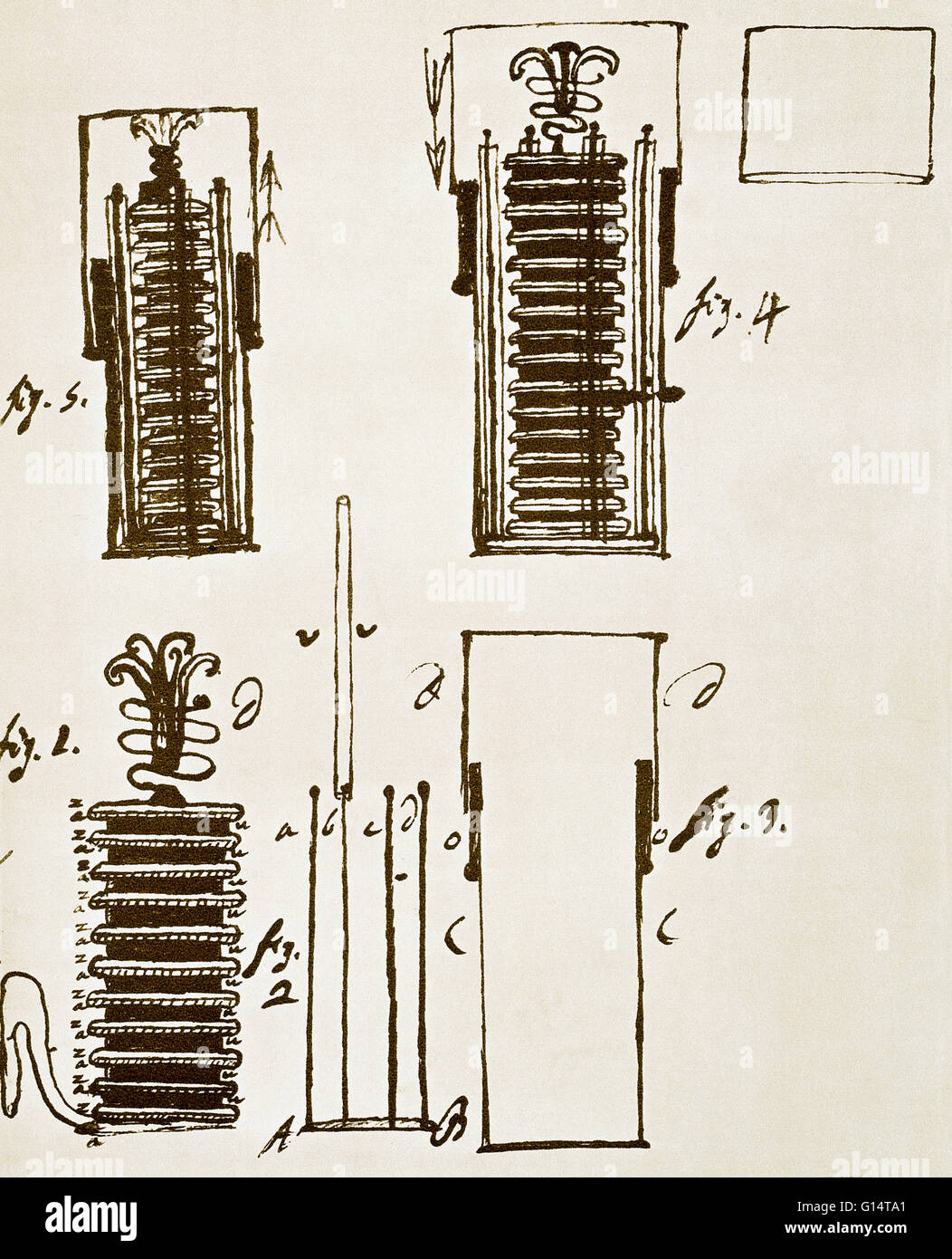 A drawing made by inventor Alessandro Volta (1745 - 1827), of the ...