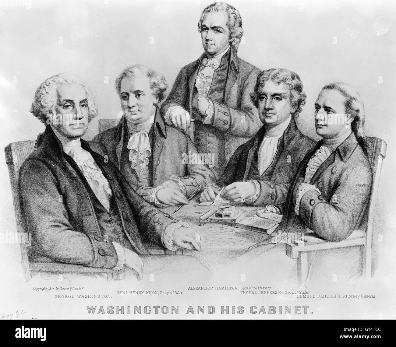 A drawing of President George Washington and his cabinet. From ...