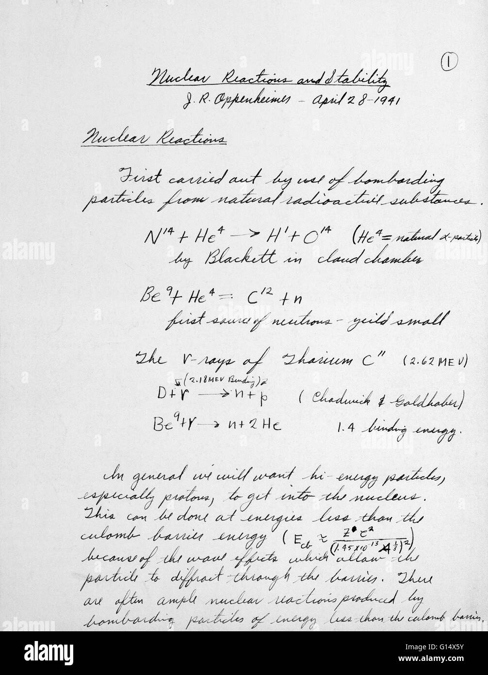 Equations Developed By J Robert Oppenheimer To Solve The Problem Of How To  Separate Uranium Equations