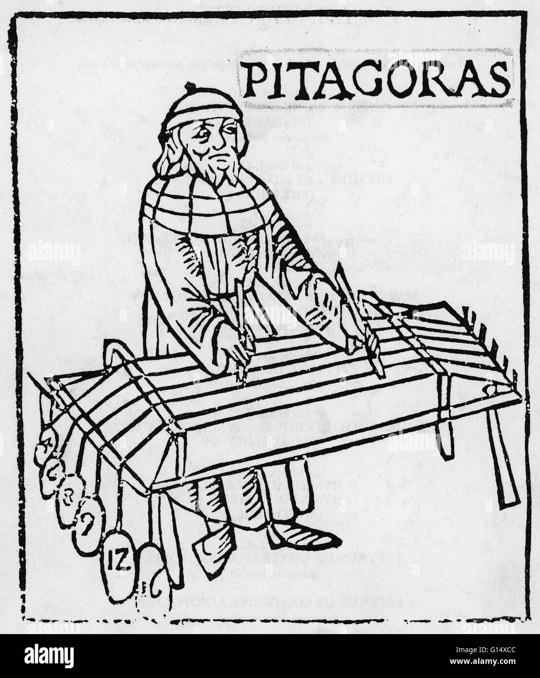 pythagoras greek philosopher mathematician stock photos woodcut by gafurius of pythagoras the woodcut is called theorica musicae 1492