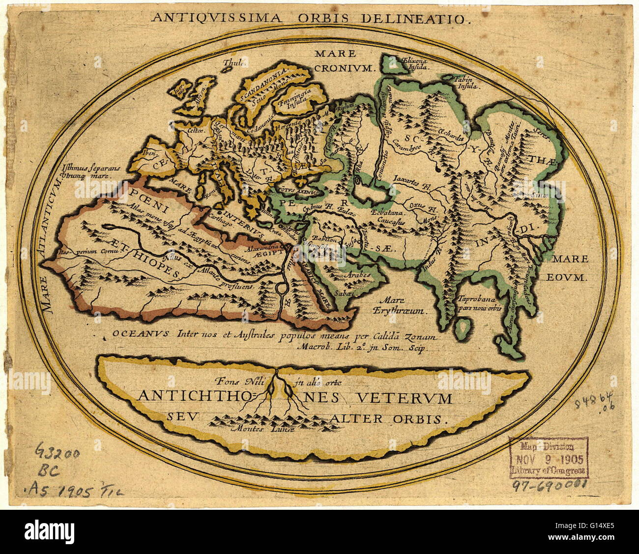 Map of the old world with latin text the title is antiquissima map of the old world with latin text the title is antiquissima orbis delineatio ancient world map the level of geographical knowledge is similar to that gumiabroncs Images