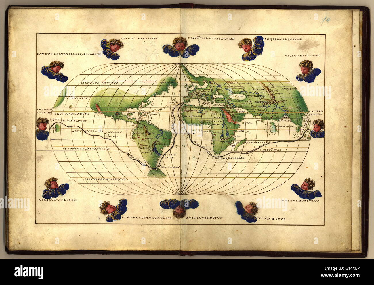 Magellan's route around the world, in a 1544 copy of the Agnese ...