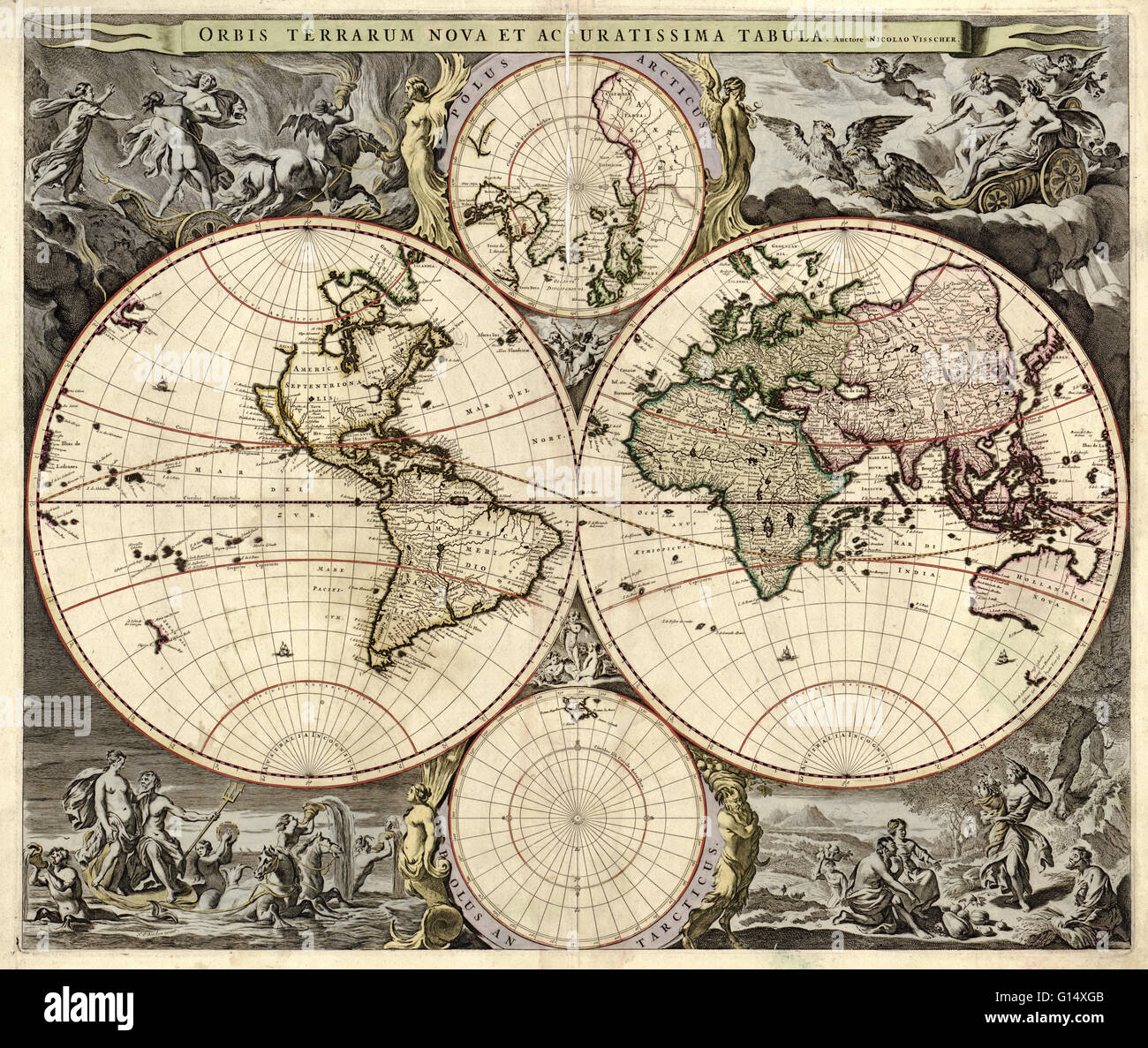 Th Century Map Of The World Published In Amsterdam This Is A - 17th century world map