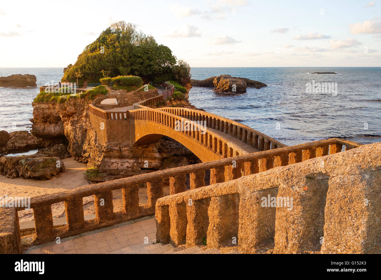 arch footbridges on the beach le rocher du basta grande plage stock photo royalty free image. Black Bedroom Furniture Sets. Home Design Ideas