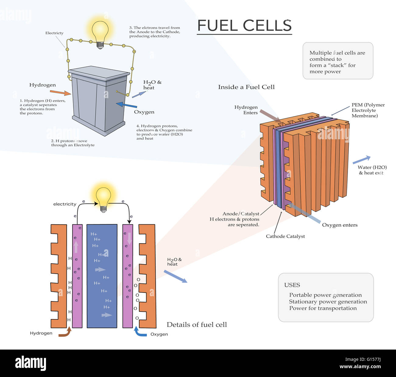 Illustration depicting how a fuel cell converts the chemical illustration depicting how a fuel cell converts the chemical energy from a fuel into electricity this is usually done through a chemical reaction with pooptronica Choice Image