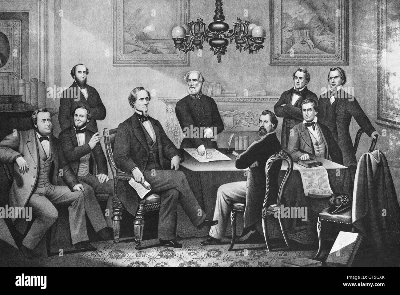 President Jefferson Davis and cabinet of the Confederate States of ...