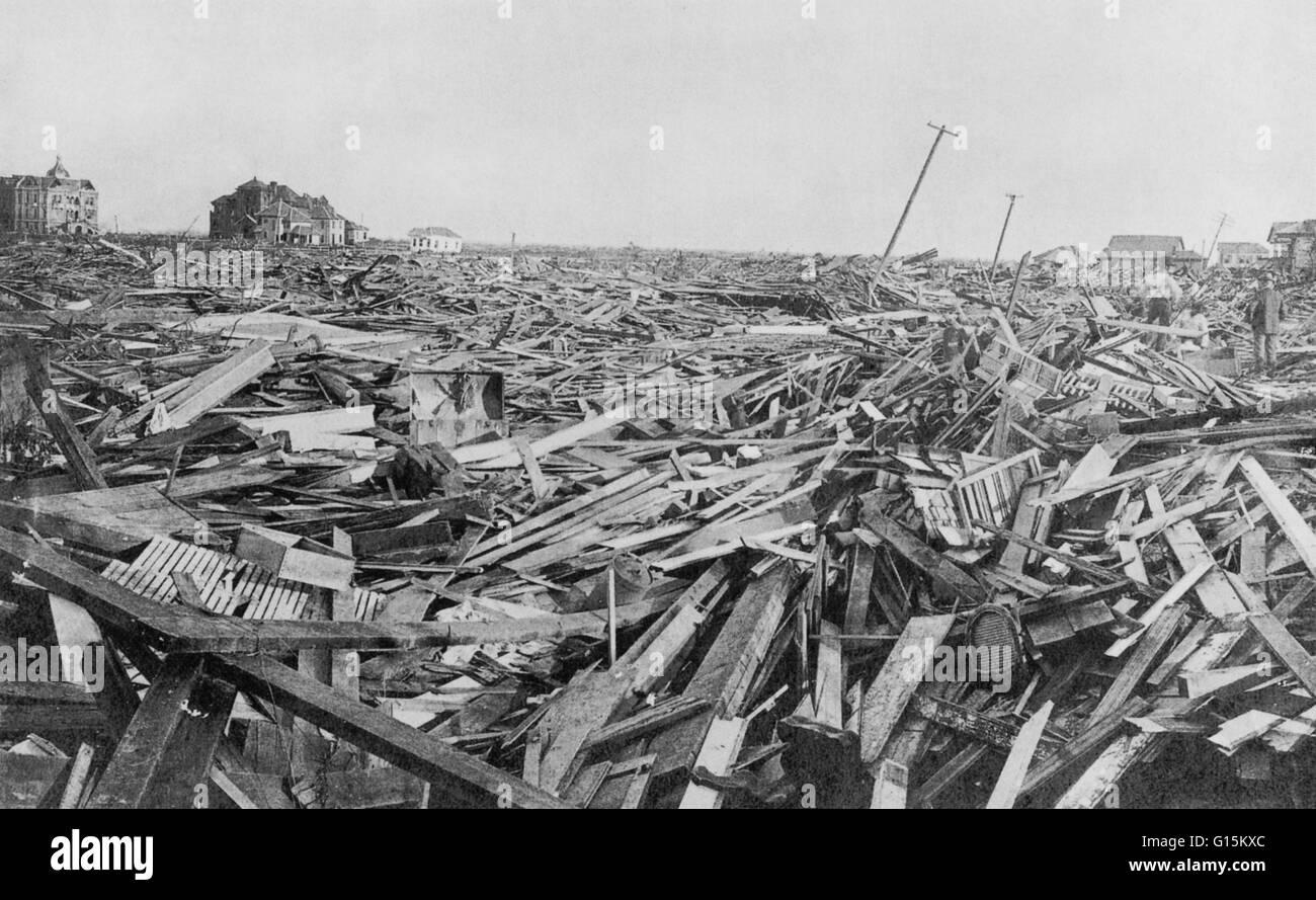 Galveston hurricane; destruction of the city of galveston texas affected areas