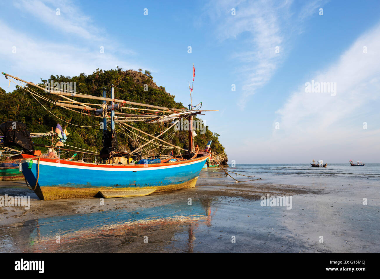Fishing Boats At Sunset  Sam Phraya Beach  Khao San Roi Yot National Stock Photo  Royalty Free