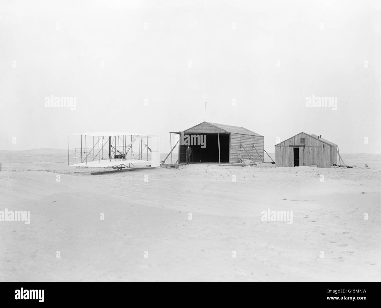 First Flight Kitty Hawk 1903 pertaining to wilbur or orville wright standing near the wright flyer, in
