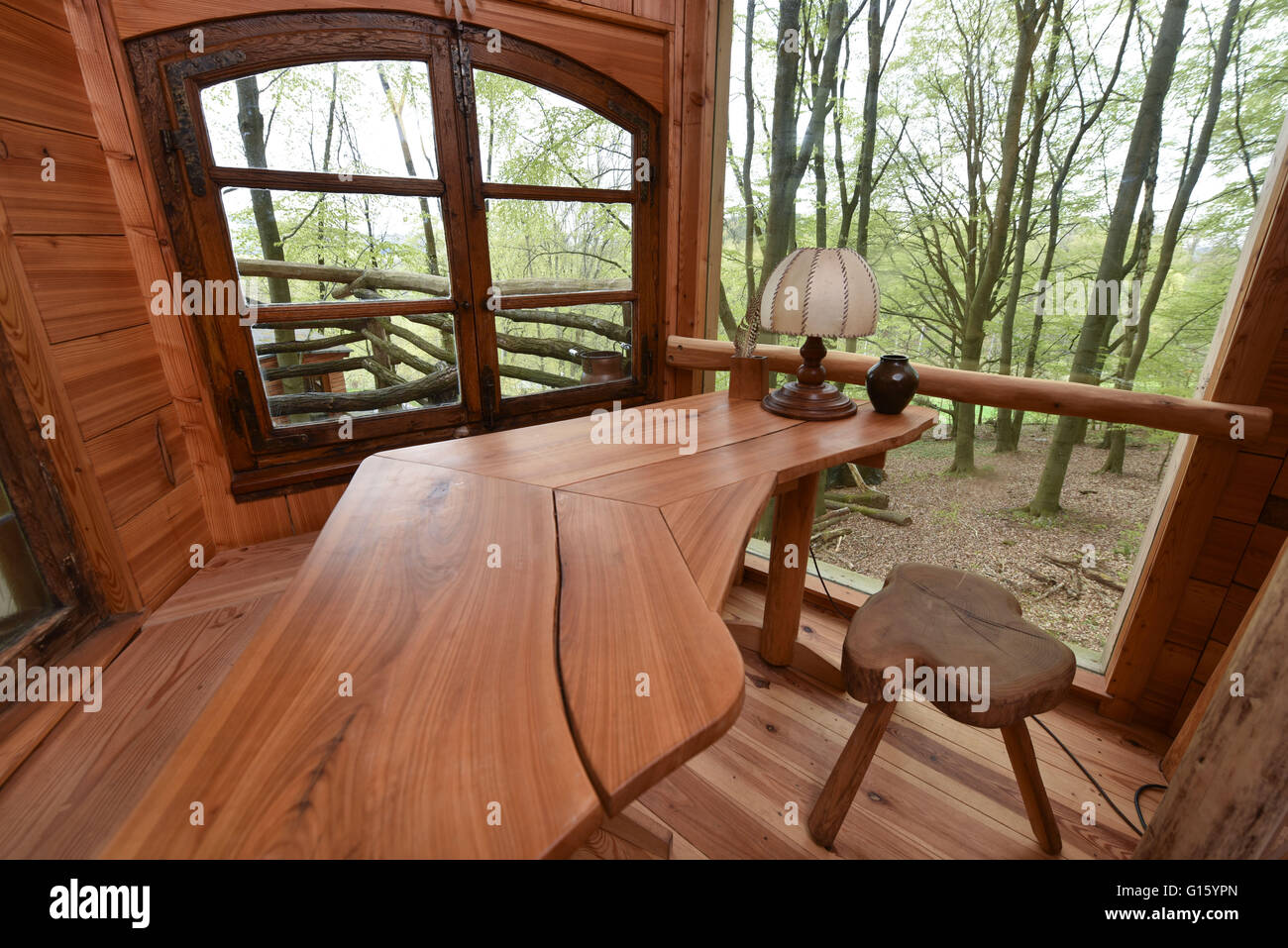29th apr 2016 view of a wooden desk in the cork house of the tree house hostel located in a forest near witzenhausen germany 29 april 2016 photo - Cork House 2016