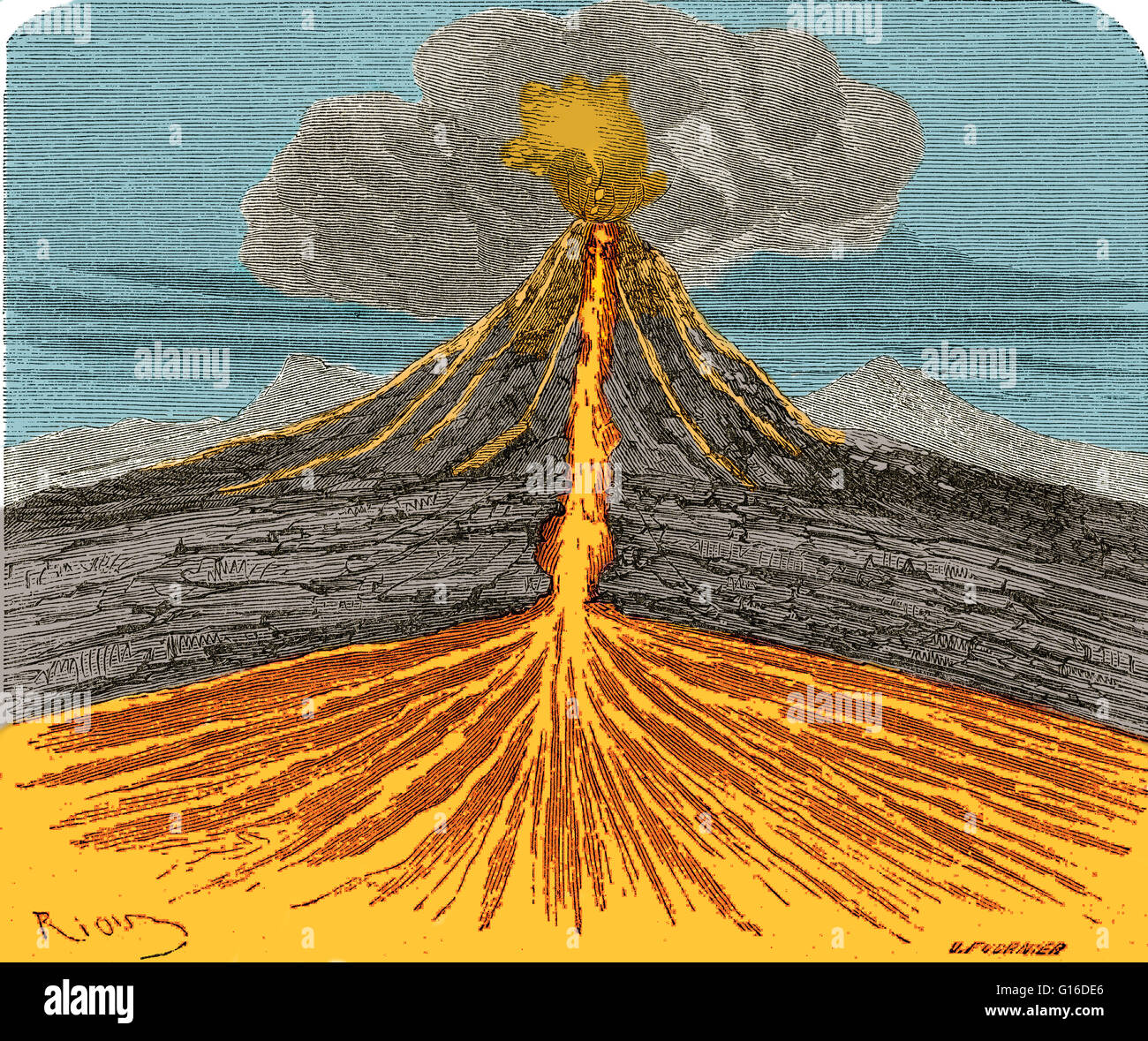 Volcano cross section stock photos volcano cross section stock section of a volcano in action from louis figuiers the world before the deluge pooptronica