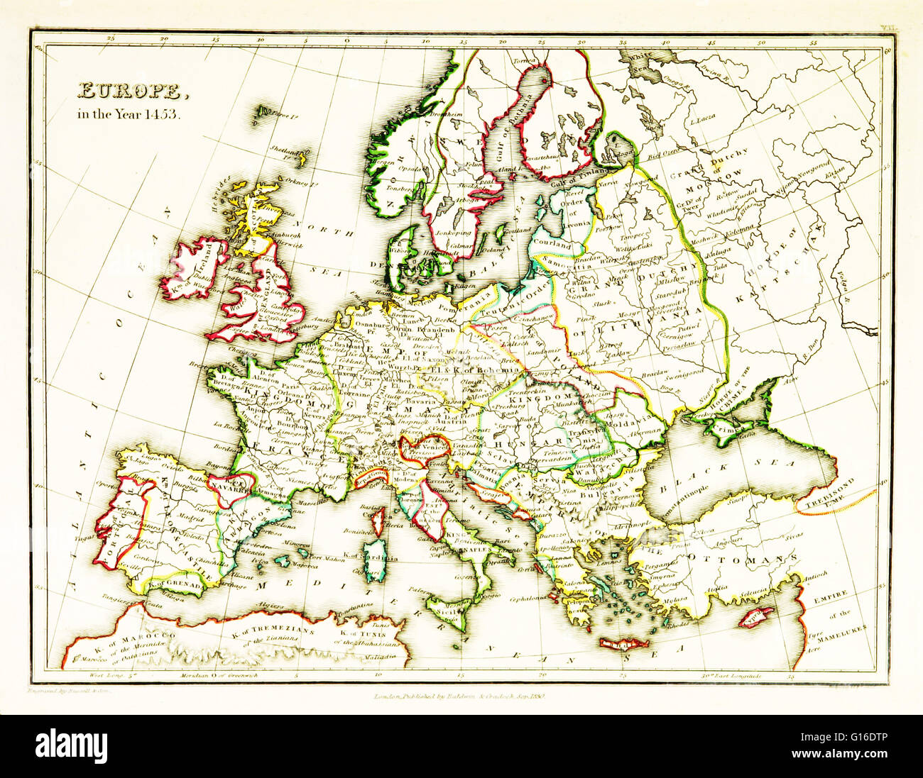 A Map Of Europe Showing Territorial Borders Existing In The Th - Europe map 15th century