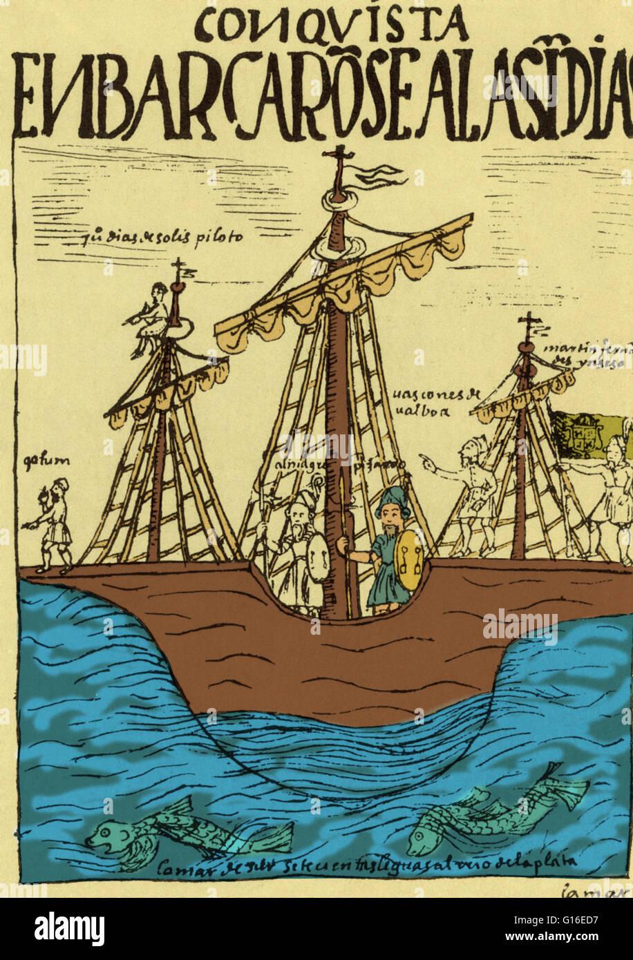 Francisco Pizarros Ship Illustration from an e...