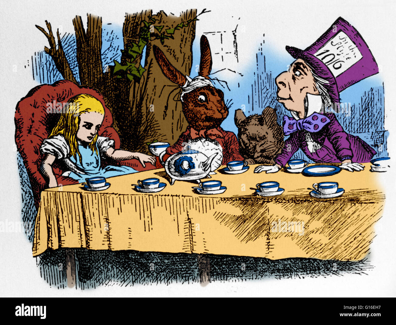 The Mad Hatters Tea Party A Scene From Lewis Carrolls Alice In Wonderland Illustrated