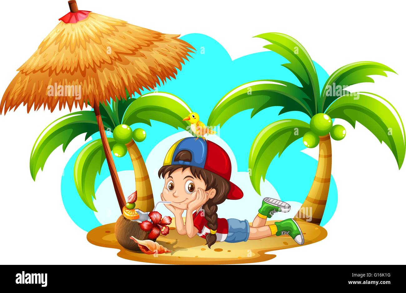 Little Girl Drinking Coconut On The Beach Illustration