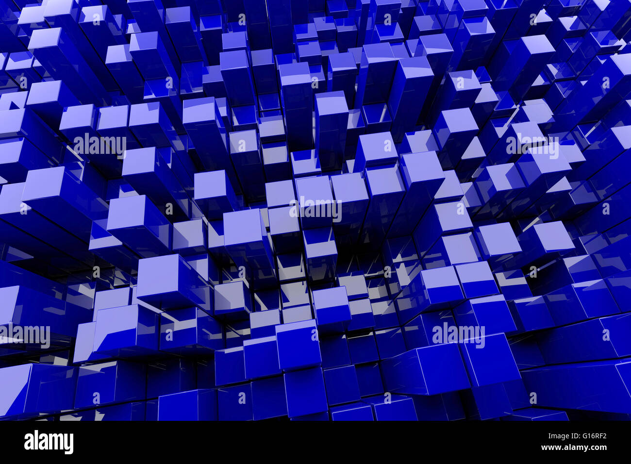 Abstract 3d Illustration Of Basckground With Blue Blocks At Left ...