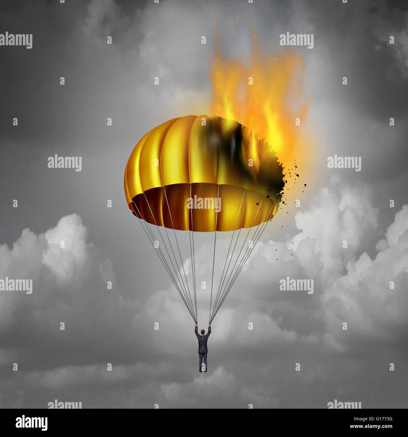 Golden Parachute Problem Concept As A Businessman In Peril