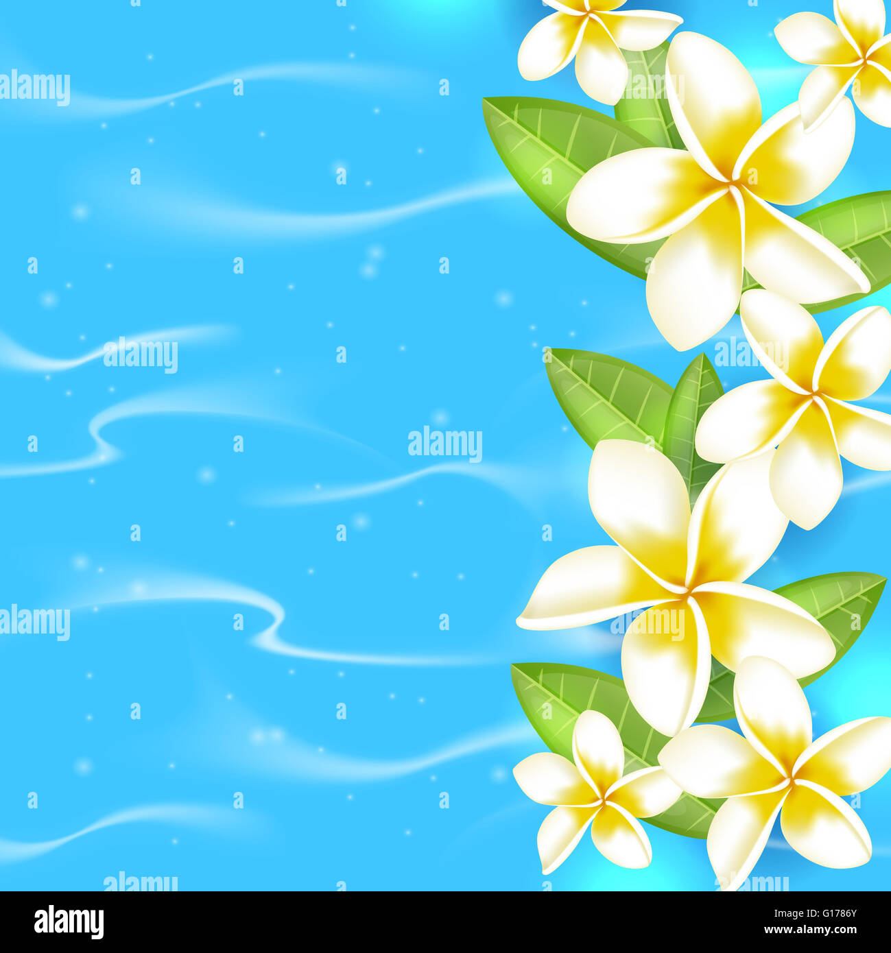 Tropical Summer Background With Flowers And Leaves In Blue Water On A