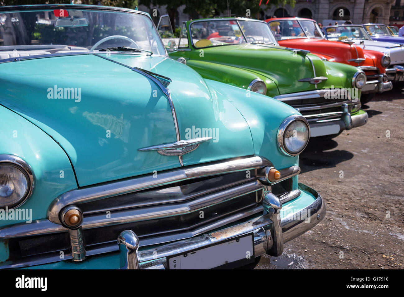 Vintage american cars parked in the main street of Old Havana,Cuba ...