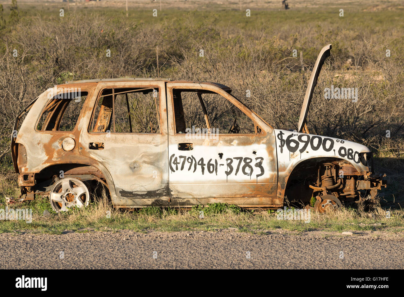 Humorous for sale sign painted on abandoned car on the side of – Free for Sale Signs for Cars