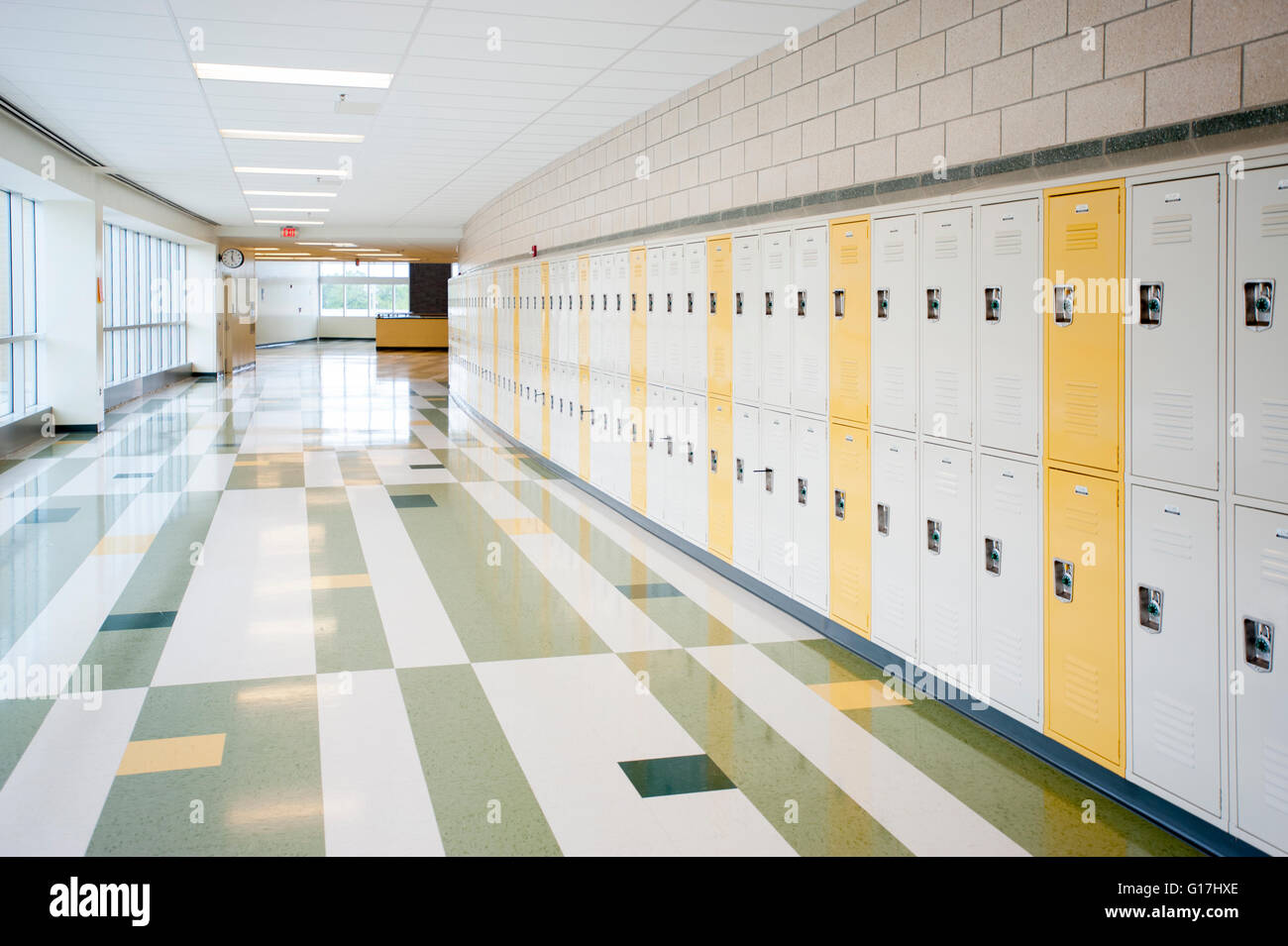 education empty halls of a modern american high school with lockers stock photo royalty free