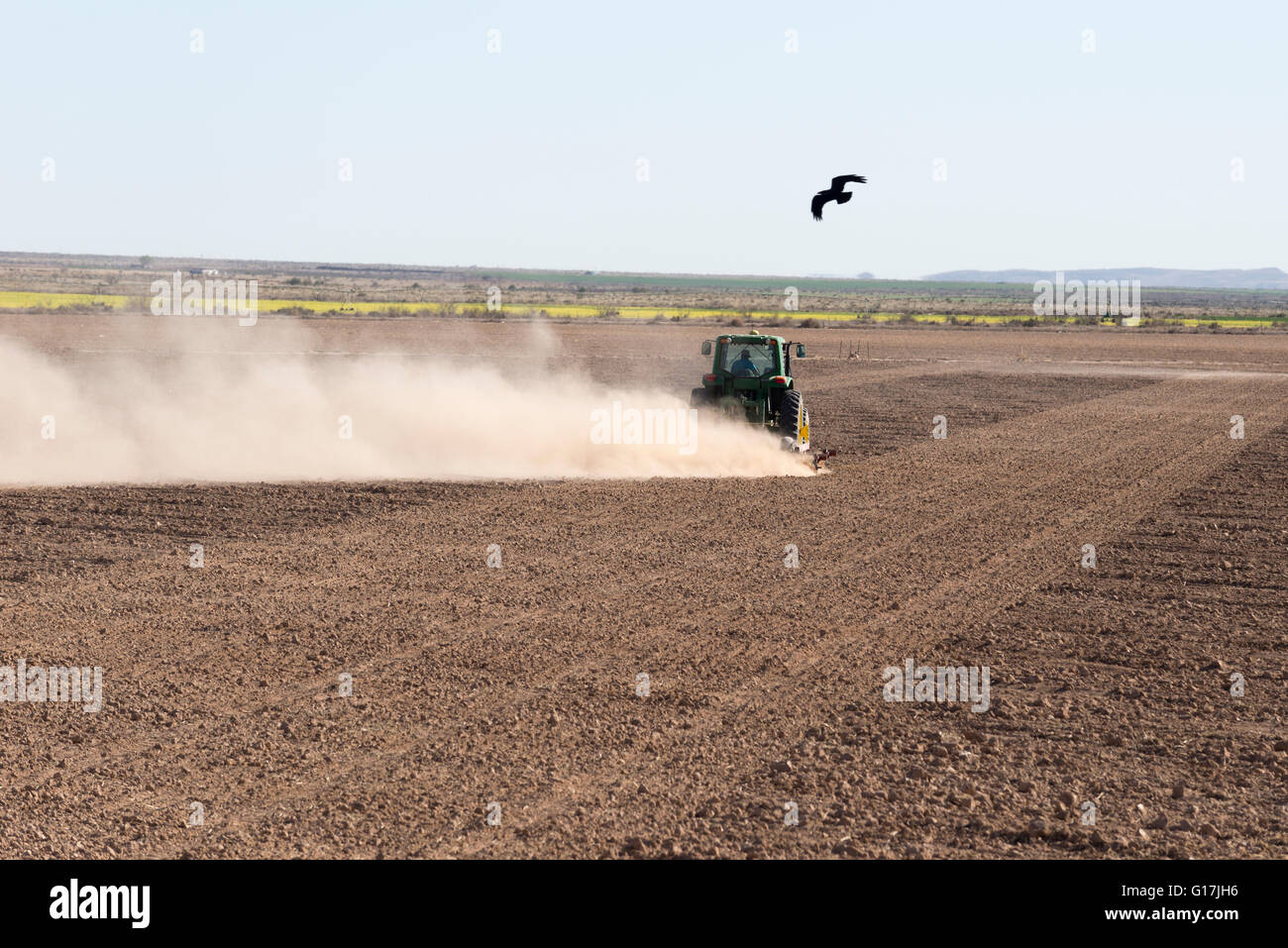 New mexico luna county columbus - Stock Photo Topsoil Blowing Away As A Farmer Tractors A Field In Luna County New Mexico