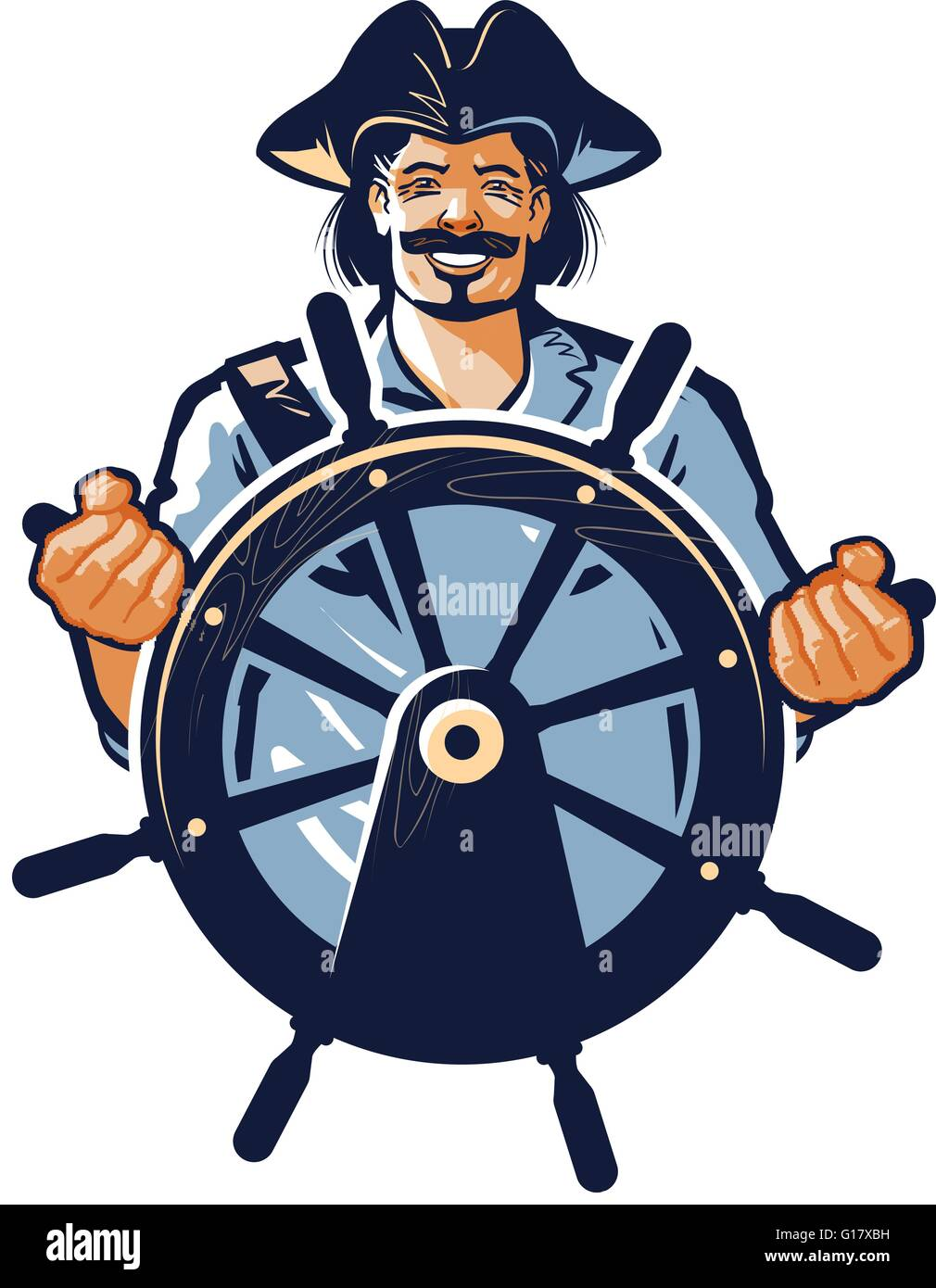 Sailor stock photos illustrations and vector art - Stock Vector Pirate Vector Logo Corsair Or Captain Sailor Seafarer Icon