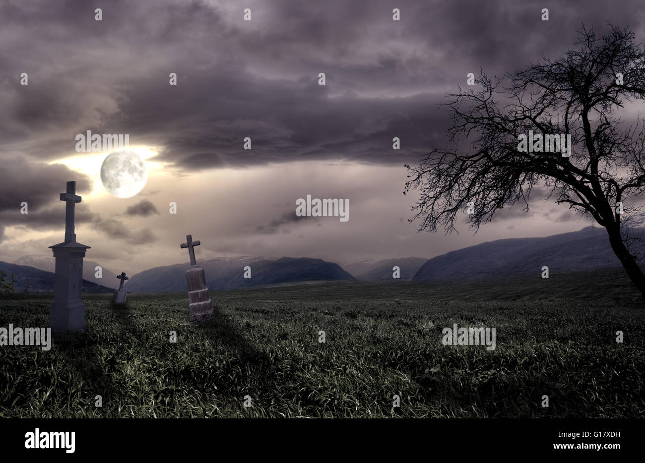 Spooky Halloween graveyard with dark clouds Stock Photo, Royalty ...