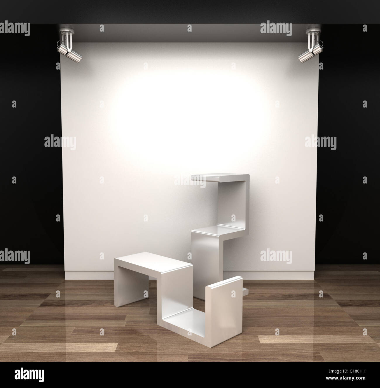 Empty museum hall, 3d rendering. Blank frames Stock Photo, Royalty ...