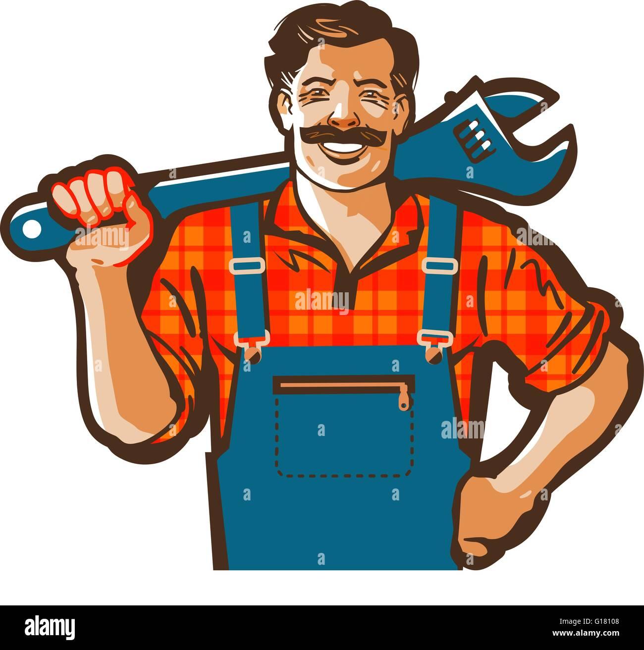 plumber vector logo wrench or handyman icon stock vector art