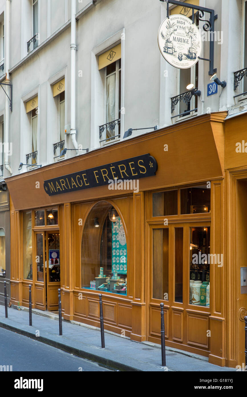 mariage freres tea room and boutique in the marais paris france stock photo royalty free. Black Bedroom Furniture Sets. Home Design Ideas