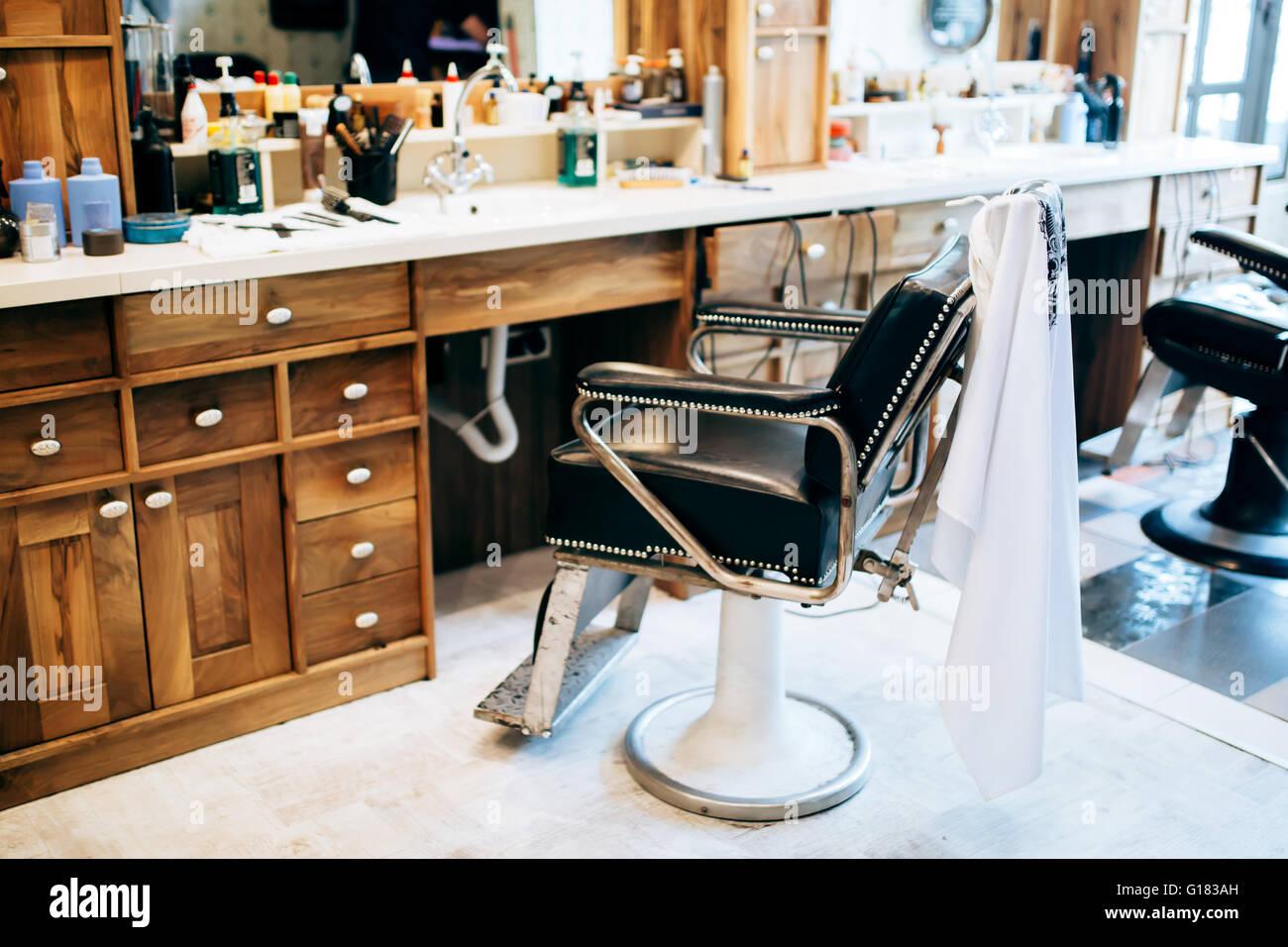 Vintage barber shop chairs - Stock Photo Vintage Barber Shop Interior