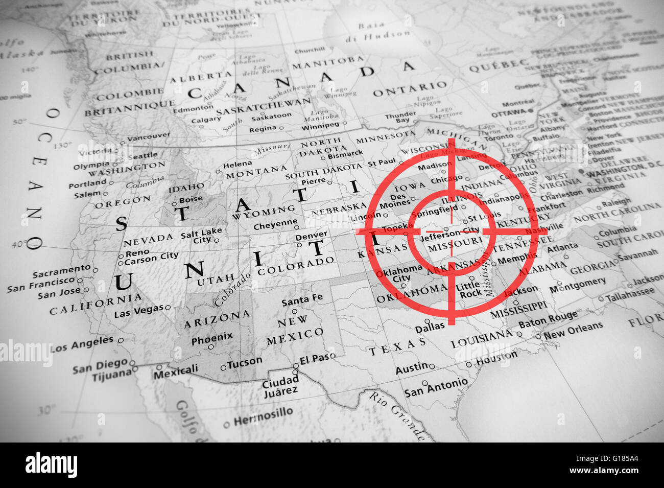Red Aerial Target On Tilted United States Map  Missouri  Black - United states map of missouri