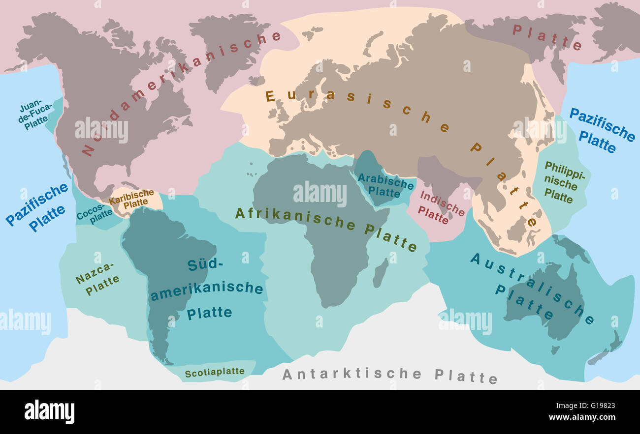 Tectonic plates of planet earth  map with names of major an minor