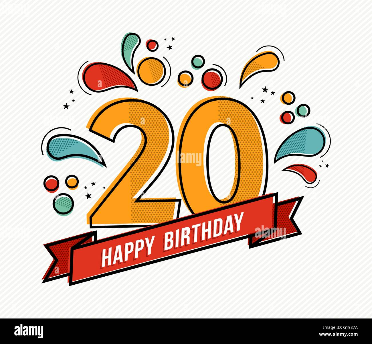 Happy birthday number 20 greeting card for twenty year in modern happy birthday number 20 greeting card for twenty year in modern flat line art with colorful geometric shapes bookmarktalkfo Choice Image