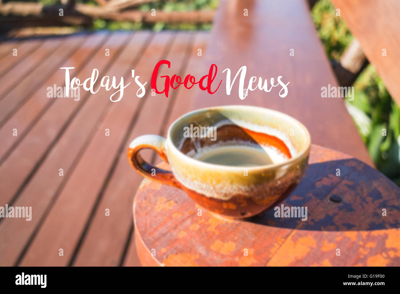 Morning Cup Of Coffee Background With Inspiration Quote, Stock Photo