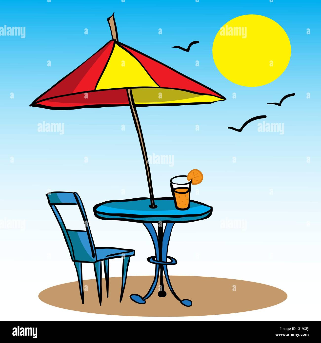 Stock Vector   Beach Umbrella, Table, Chair And Juice Cartoon Doodle