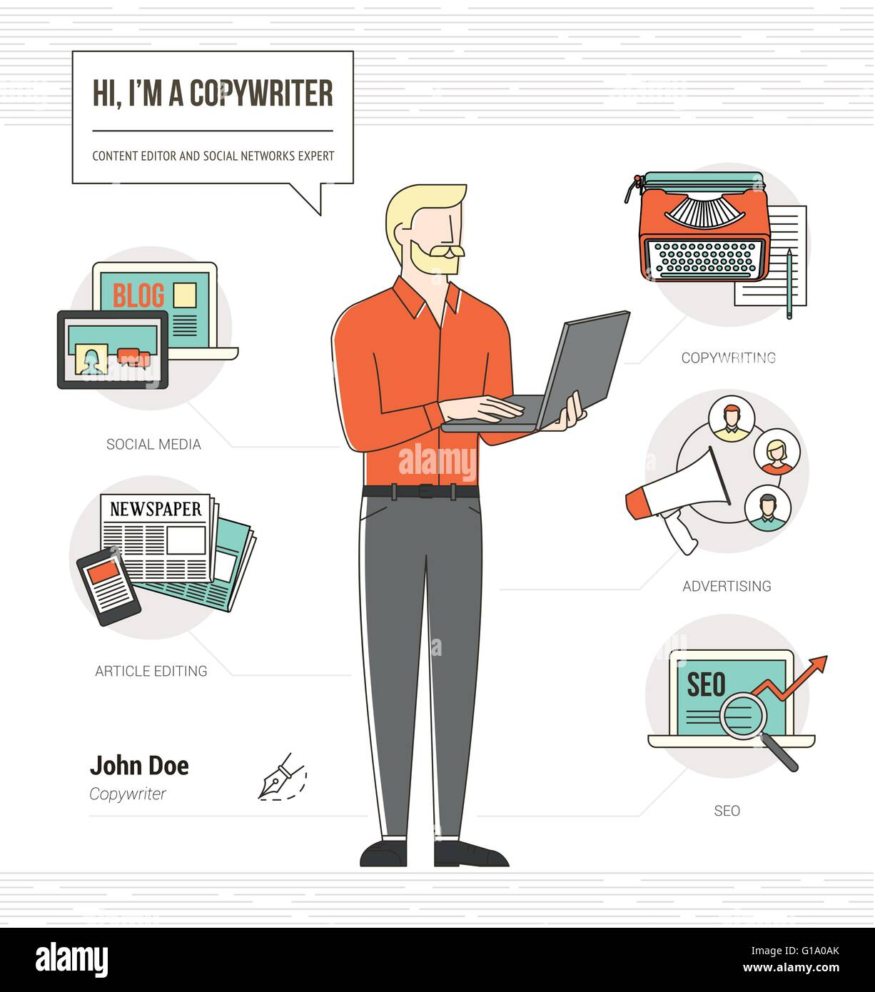 Professional copywriter infographic skills resume with icons and ...
