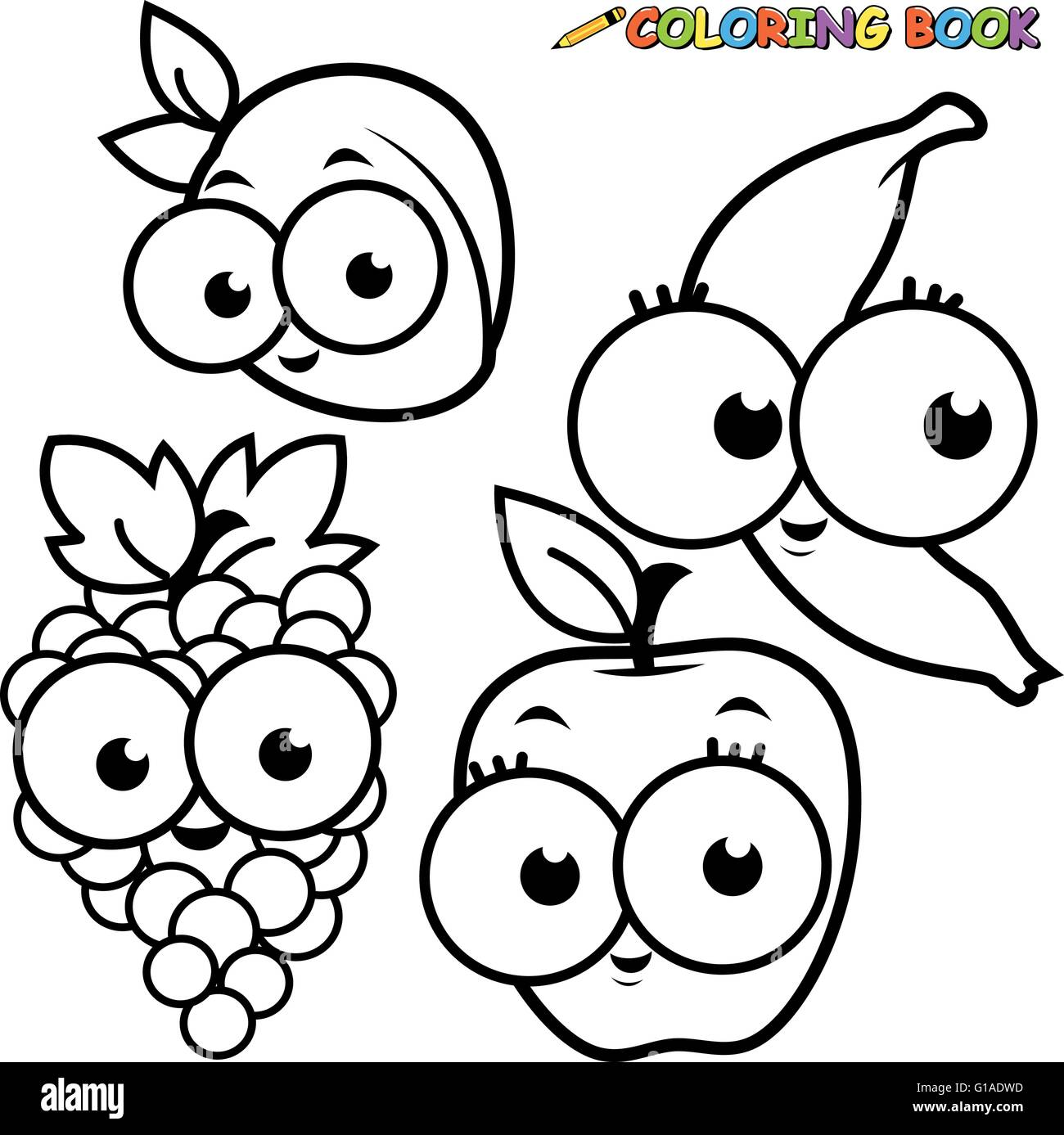 black and white outline image of fruit cartoons apricot banana