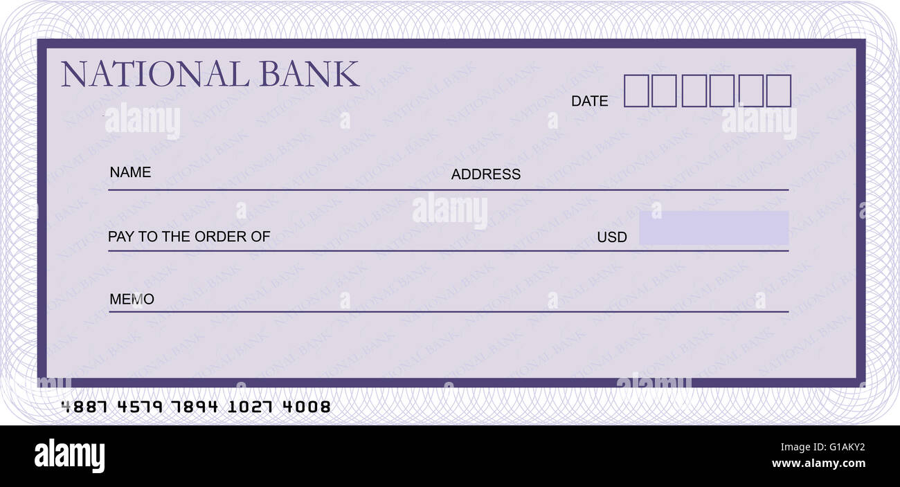 Blank bank cheque template in shades of violet Photo – Blank Cheque Template