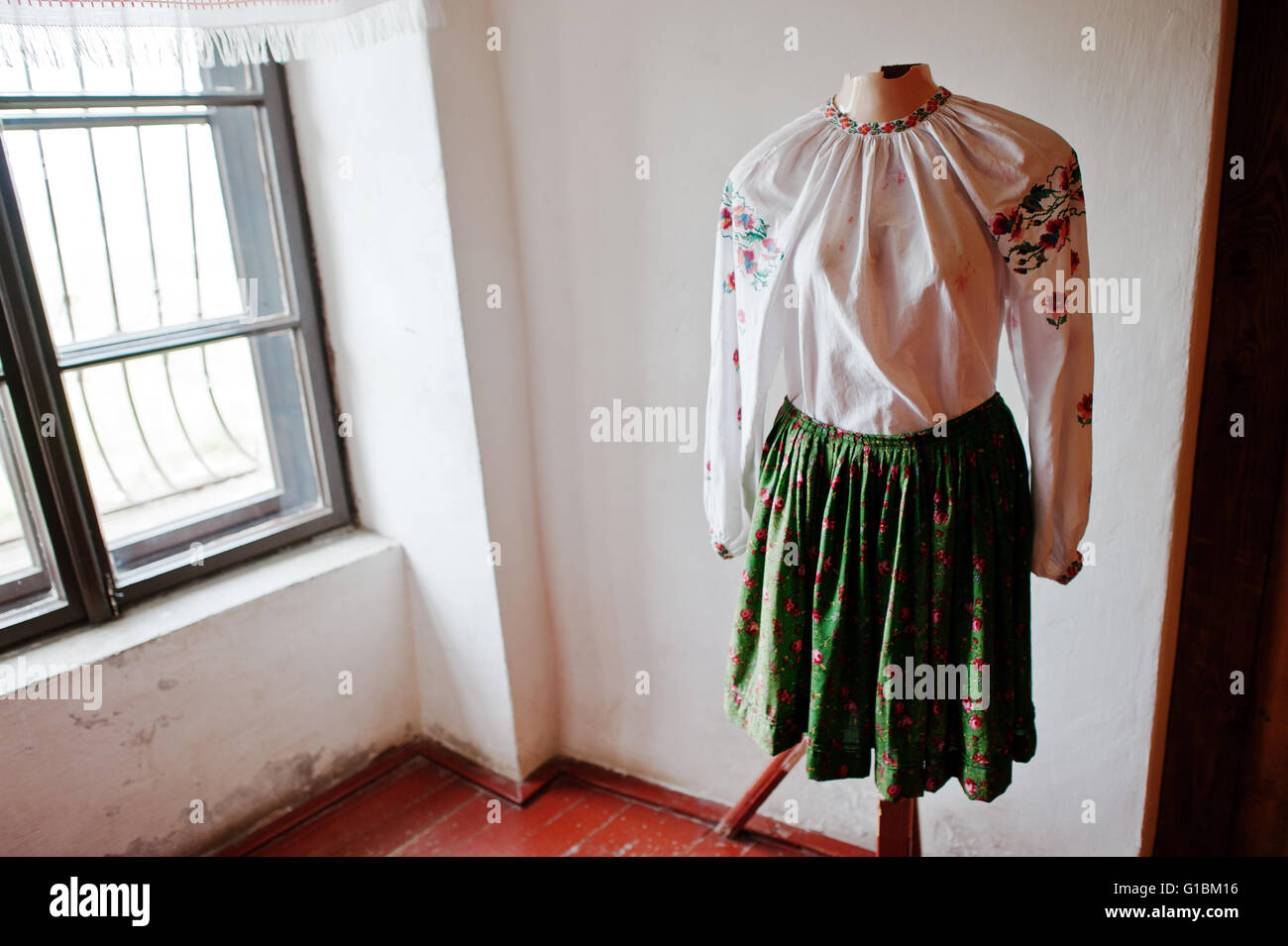 mukachevoukraine april 112016 elements of the old womens traditional clothing at palanok castle museum - Traditional Castle 2016
