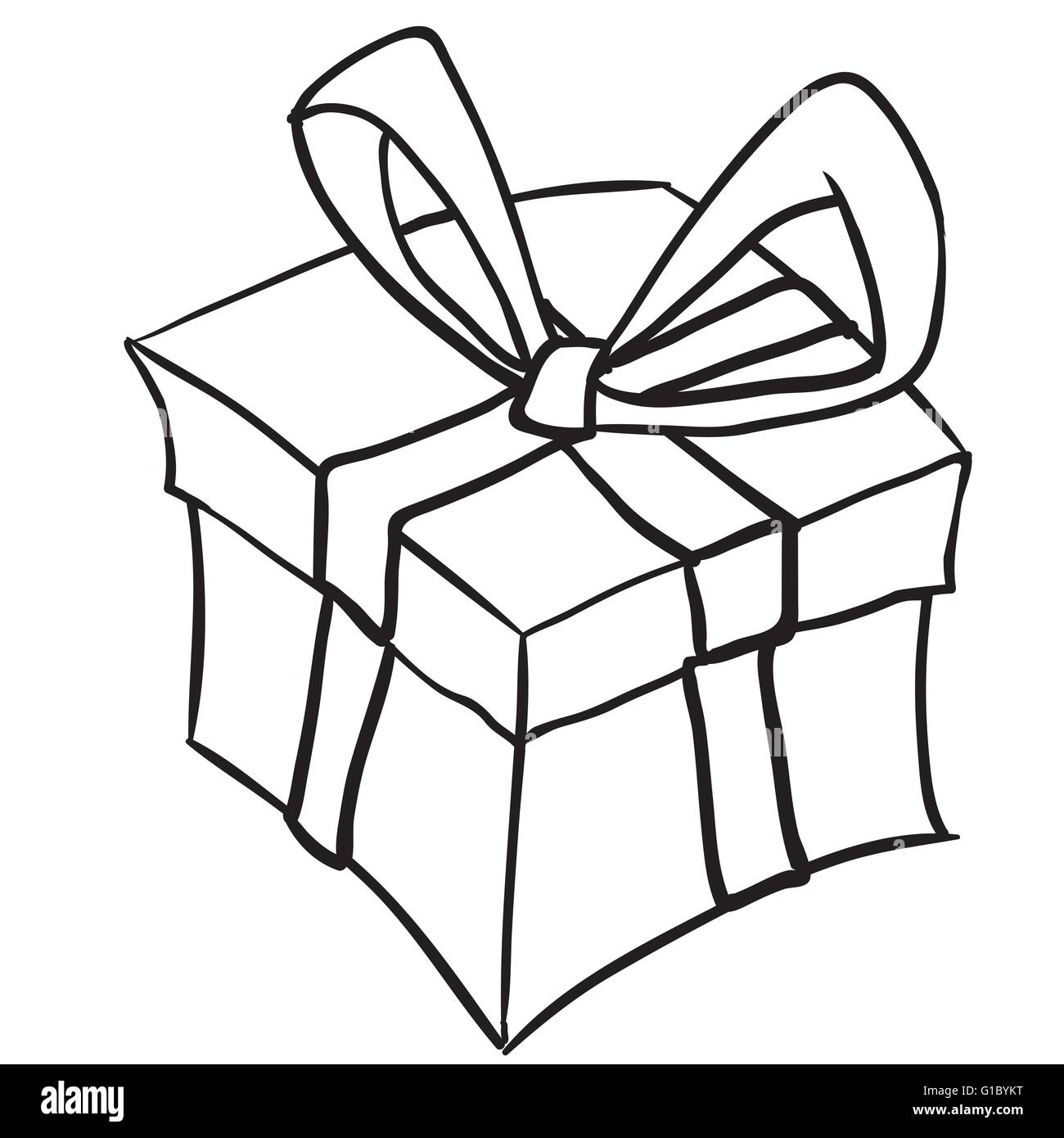 Simple black and white gift box cartoon doodle stock vector art simple black and white gift box cartoon doodle negle Gallery