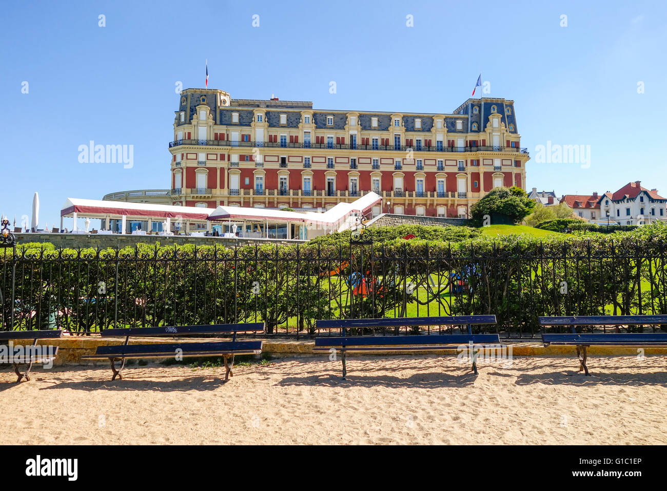 luxury hotel du palais at beach in biarritz aquitaine french basque stock photo royalty free. Black Bedroom Furniture Sets. Home Design Ideas
