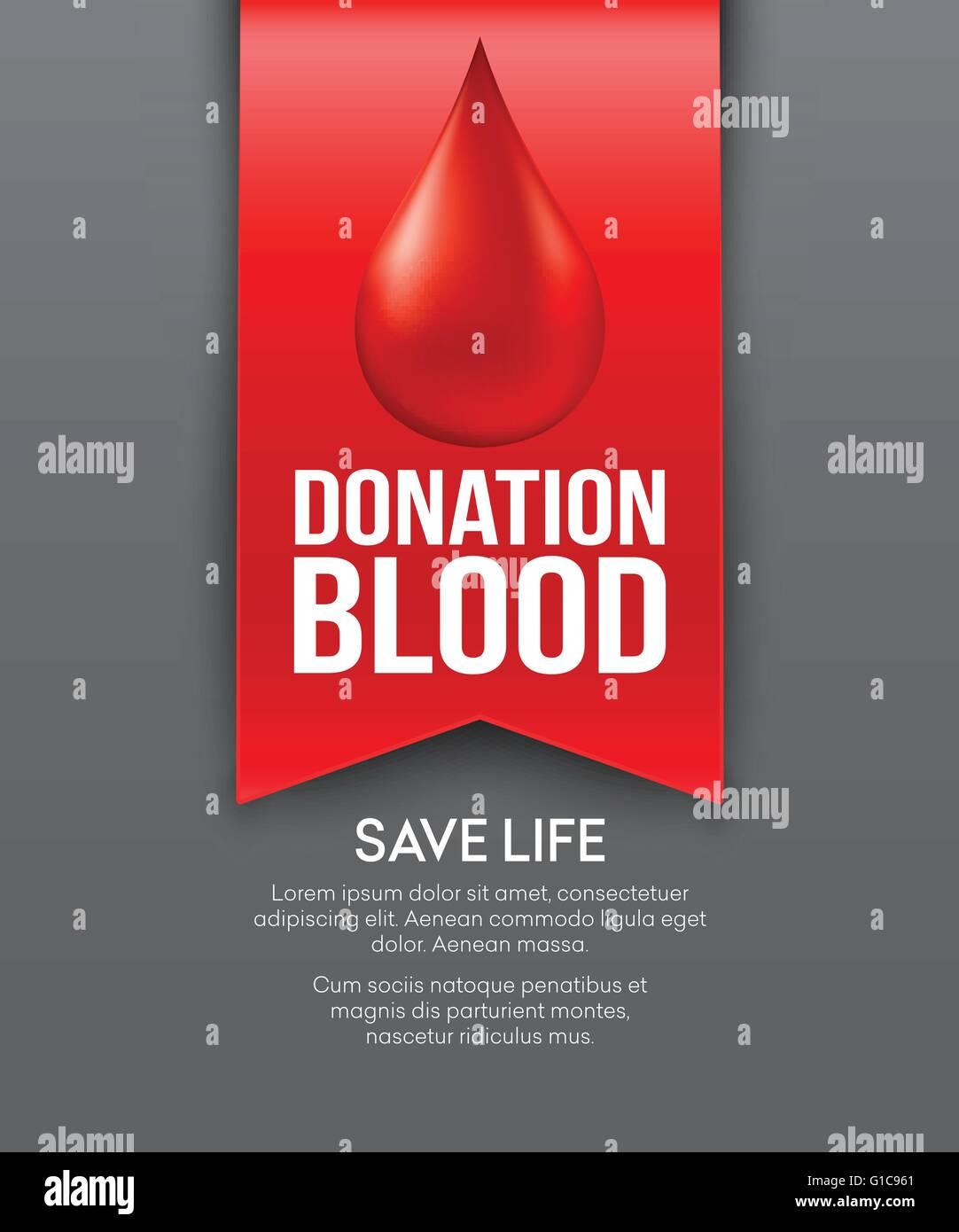 Poster design on blood donation - Donate Blood Poster Design Vector Illustration