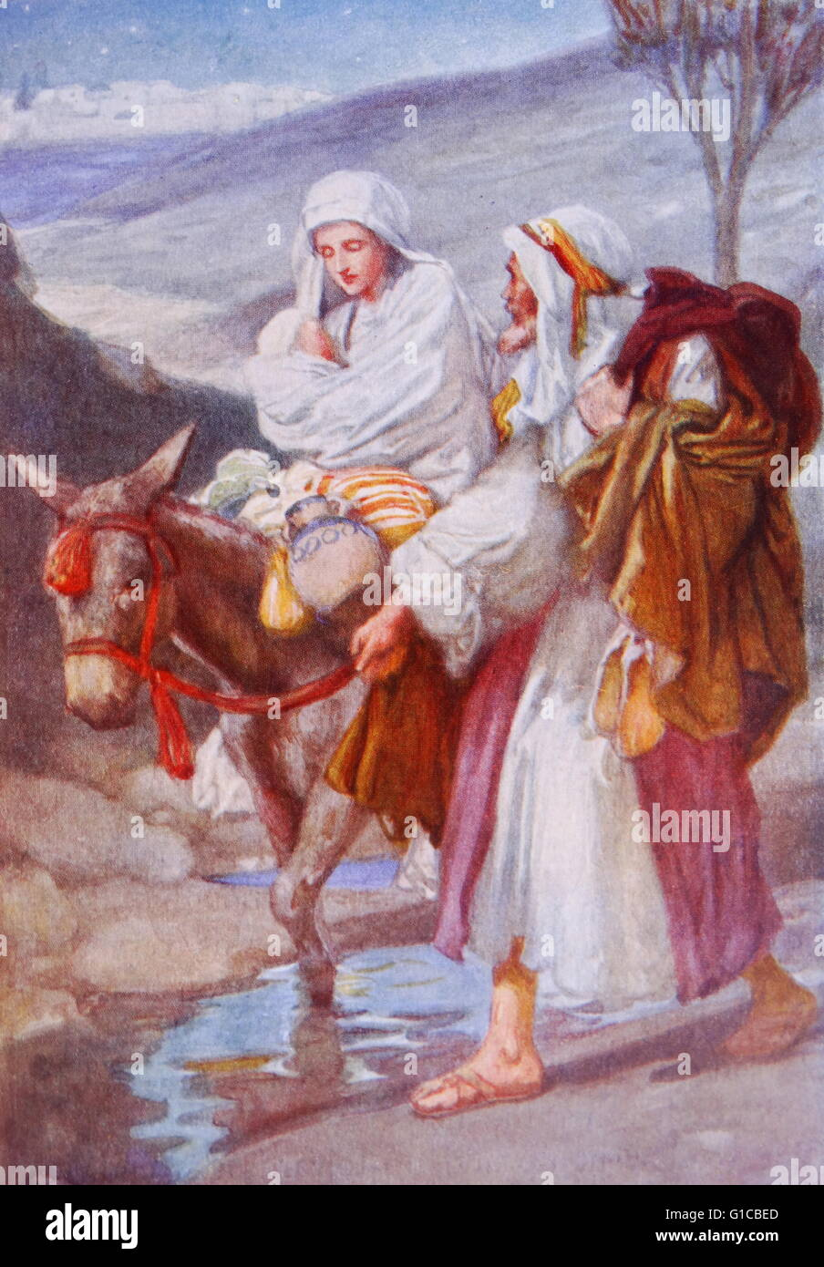 Painting depicting the flight into egypt a biblical event for Egyptian fresco mural painting