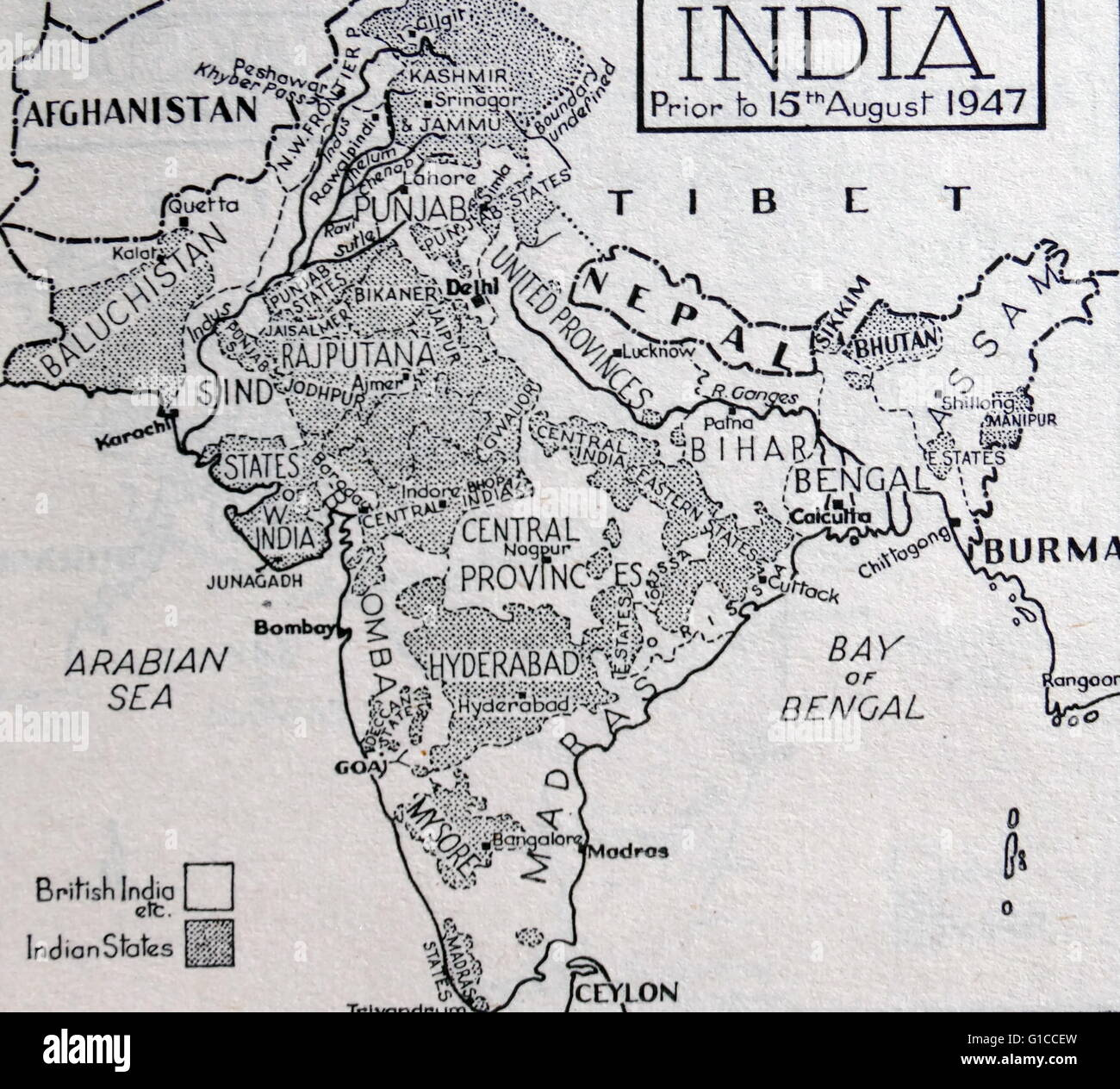Map of India before the Partition of the British Indian Empire