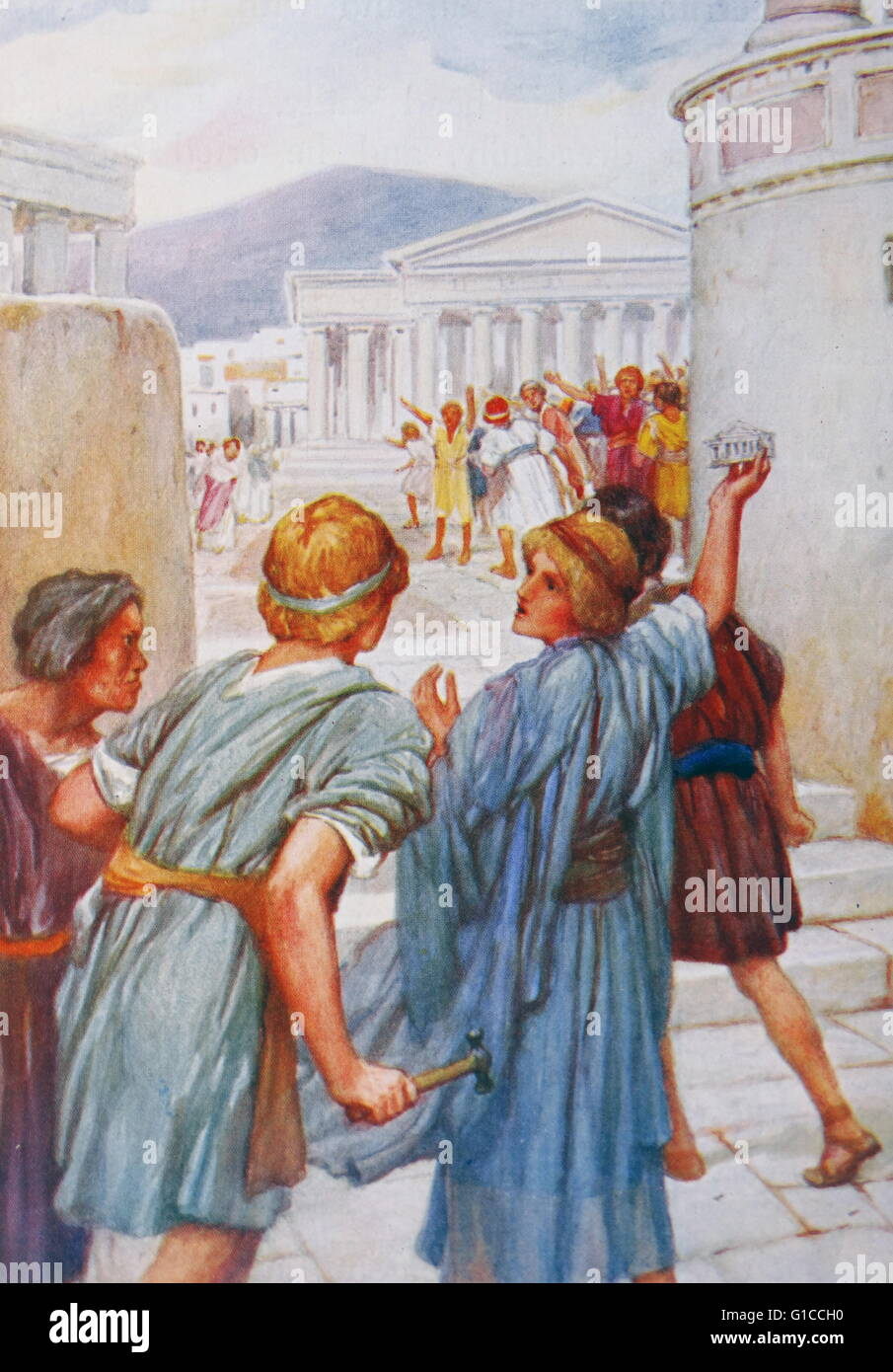 the riot at ephesus illustration by arthur a dixon 1872 1959