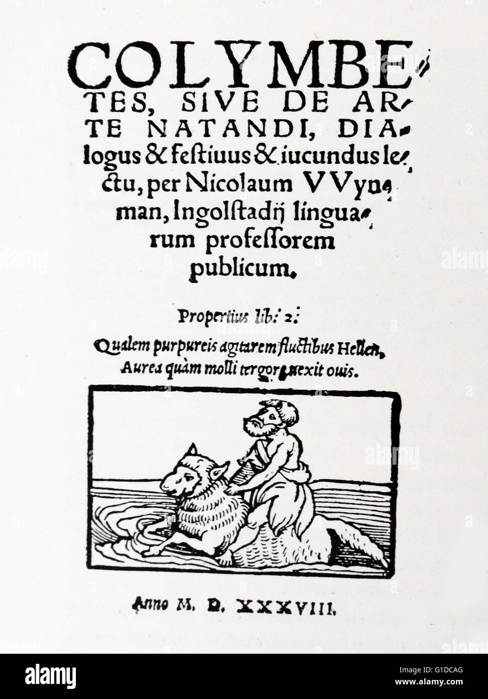 title page of the very first book on swimming dated th century stock photo title page of the very first book on swimming dated 16th century