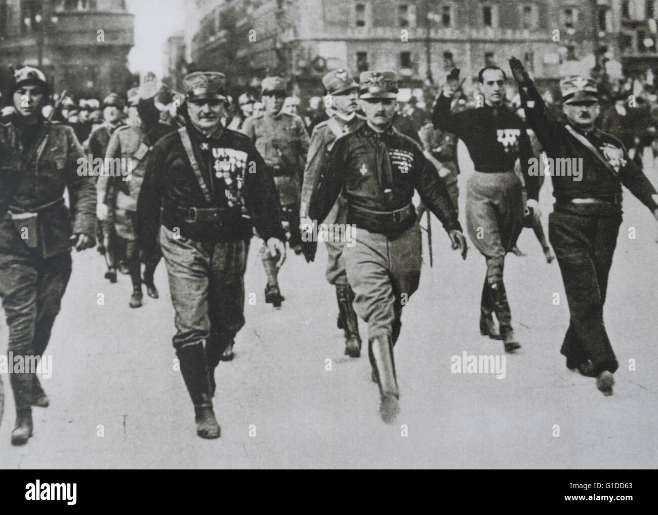 Photographic print of Mussolini's Black shirts march through the ...