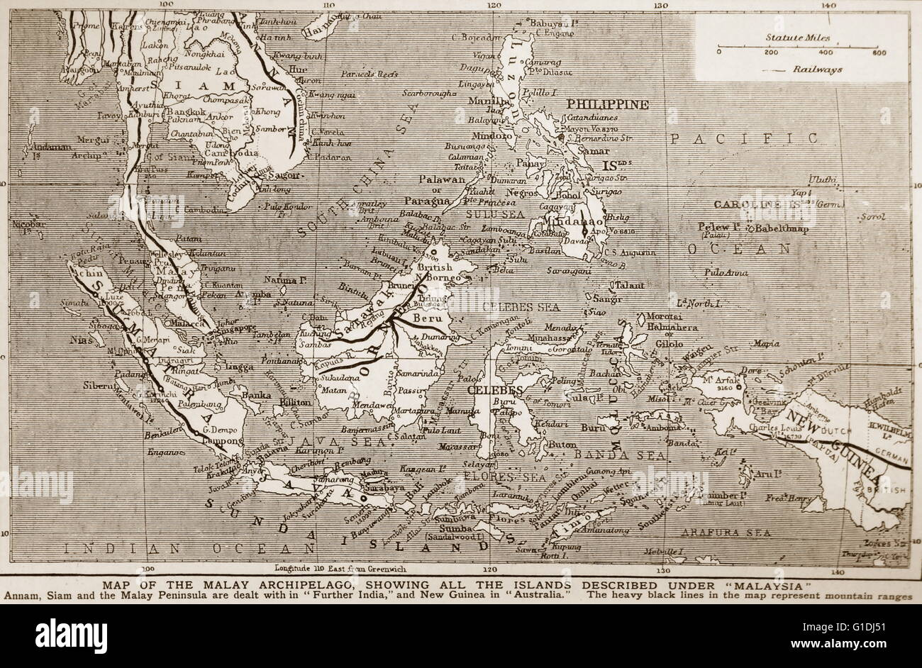 1900 Map of south East Asia showing the Philippines Malaya Stock
